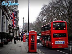 Cabine téléphonique de Londres, lors d'un voyage linguistique Capjuniors